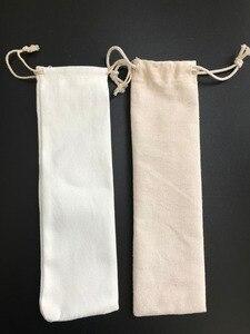 Image 3 - 50 Pz/lotto Poliestere di Cotone Beige di Archiviazione Portatile borsa di Paglia Riutilizzabile Paglia Del Sacchetto di Picnic di Campeggio Bacchette Cucchiaio Da Tavola