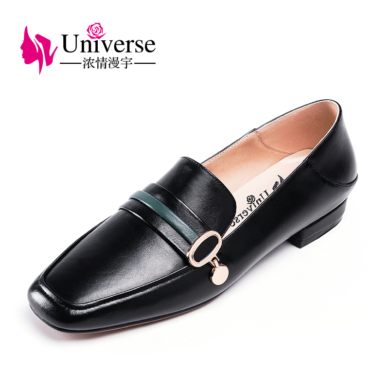 Universe Real Leather Women Flat Shoes Loafers Square Toe Women Flat Shoe Zapatos Mujer Slip on