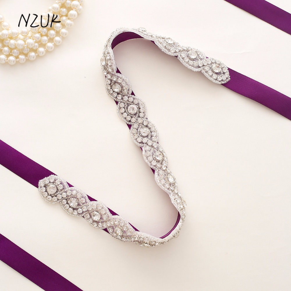 Crystal Wedding Belts Satin Rhinestone Bridal Belt Wedding Accessories Bridal Ribbon Sash Belt Y108S