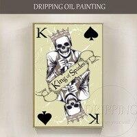 Design do cartaz Artista Pintura A Óleo sobre Tela Mão-pintado Crânio Spades Poker King of Spades Pintura A Óleo Especial para Sala de estar