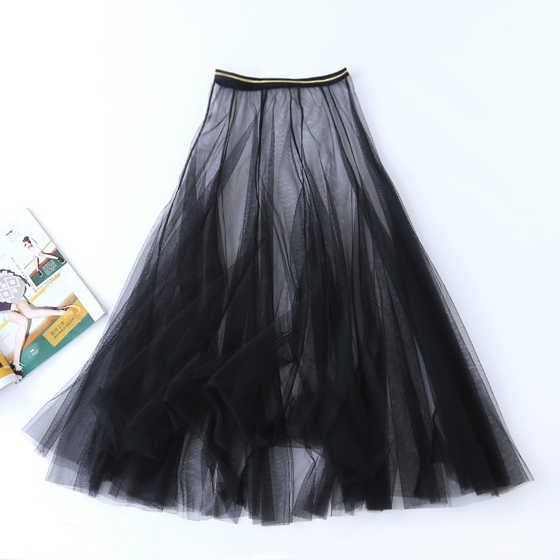 Women Summer Sexy Lace Pleated High Waist Long Skirt Ladies Korean Vintage Elegant Tulle Mesh Transparent Gauze Black Midi Skirt