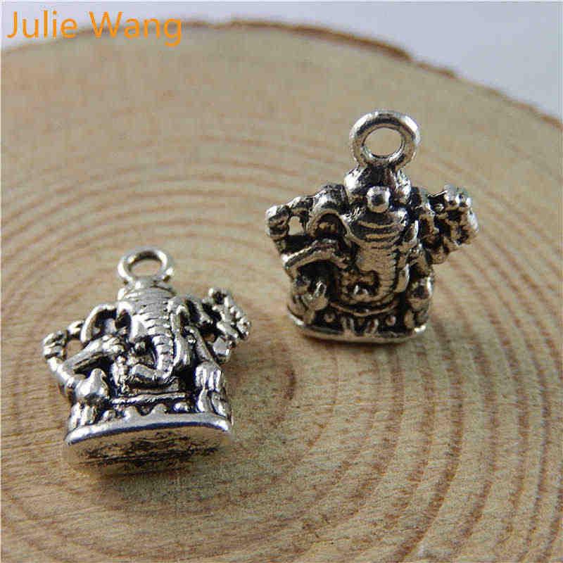 ג 'ולי וואנג 12PCS Vintage פיל אלוהים גנש עתיק כסף צבע סגסוגת קסמי תליוני דקור מציאת תכשיטי ביצוע אבזר