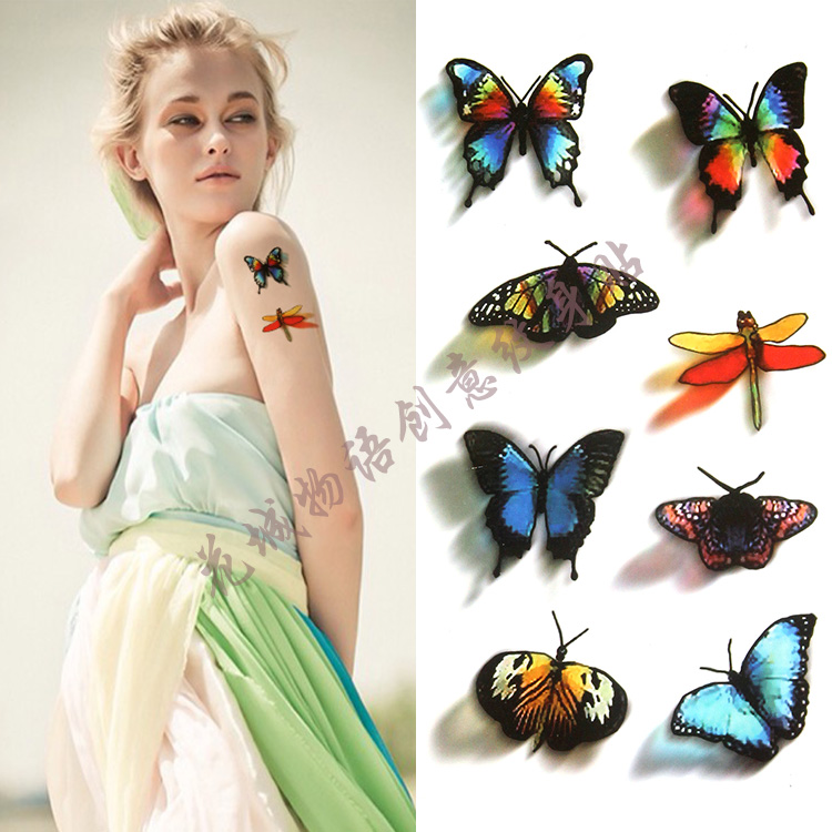 3D beautiful colorful small butterfly Body Art Waterproof fake tattoo For Woman Flash TemporaryTattoo Stickers 10*20CM KD751
