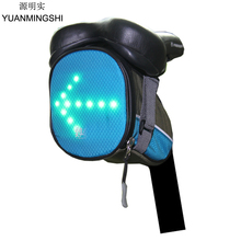 цена на YUANMINGSHI Cycling Bicycle Bike Tail Bag LED Safety Rear Bag with LED Warning Signal Light & Remote Control for Night Riding