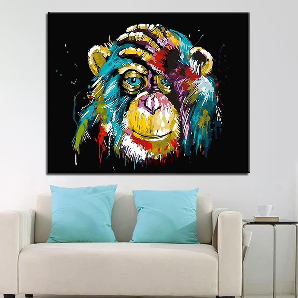 Minyak Lukisan Dengan Angka Diy Tangan Cat Babon Gambar Hewan