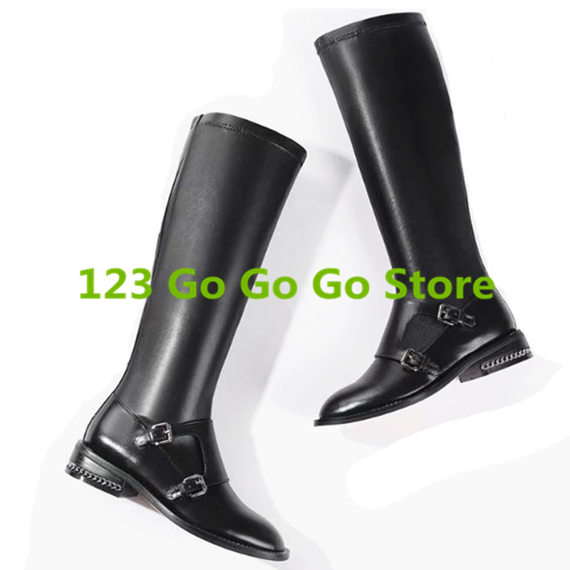Black Color Round Toe Low Heel Women Leather Boots Side Zip Design Long Booties Luxury Brand Super Star Runway Shoes Belt Buckle miquinha round toe women boots mixed color short booties luxury brand women cool runway fashion star high heel boots buckle shoe