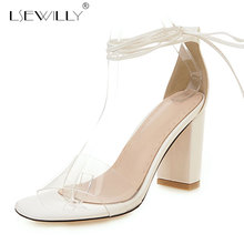 Lsewilly 2019 new unique pvc summer shoes thick high heels dress simple elegant party wedding women sandals E684