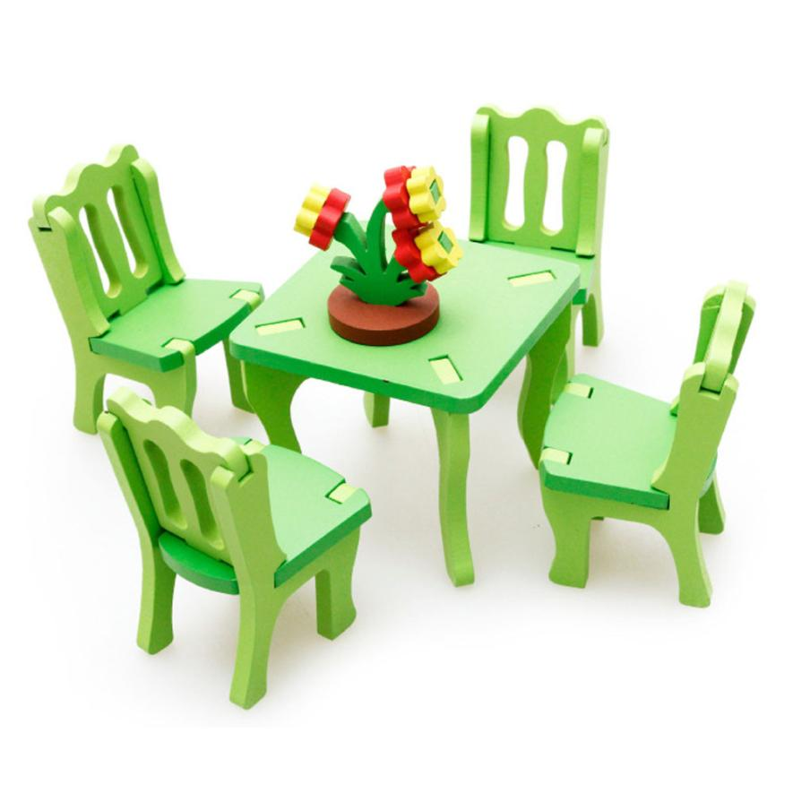 shaunyging # 5022 Kid Children Educational Toy Wooden 3D Puzzle Home Table Chair Flowerpot