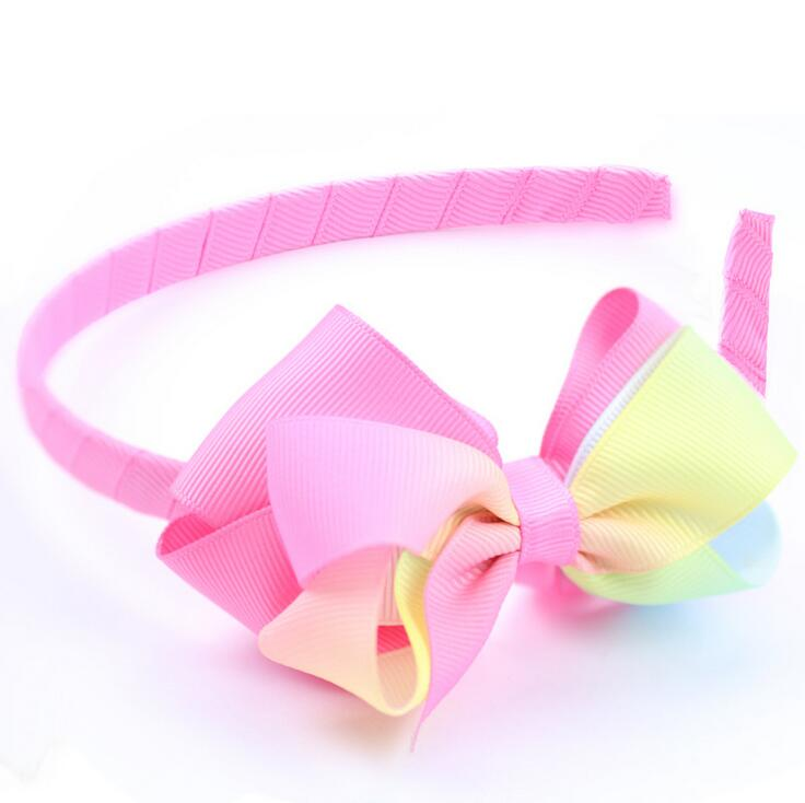 Handmade Bowtique 3d kanzashi Flower Hair Clip Bow pink//green  ombré