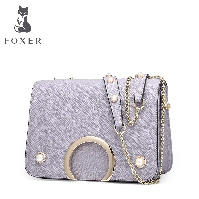 ФОТО FOXER Brand 2017 New women bag quality Simple leisure women shoulder messenger bags fashion chains  leather shoulder bag