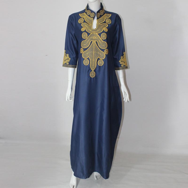 2017 afrika yaz lady maxi dress riche bazin embroiderd gömlek dress - Ulusal Kıyafetler - Fotoğraf 1