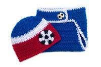 Red White Blue Baby Soccer Beanie Soccer Baby Hat Soccer Diaper Set Crochet Soccer Baby