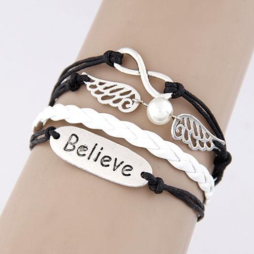 Leather Charm Bracelet - black and white positivity