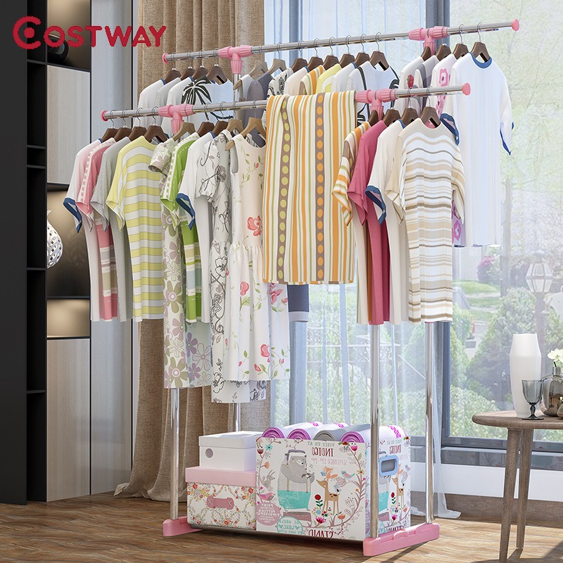 COSTWAY Clothes Hanger Coat Rack Floor Hanger Storage Wardrobe Clothing Drying Racks porte manteau kledingrek perchero de pie-in Coat Racks from Furniture    1