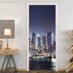 Городской Ночной вид 3D фото обои дверь наклейка Сделай Сам самоклеющийся съемный домашний декор настенные наклейки двери наклейки настенн...
