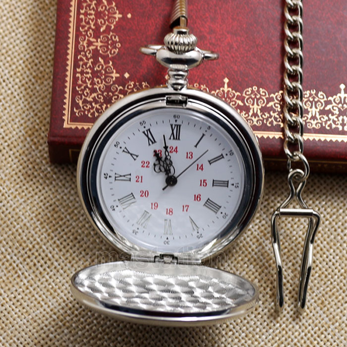 Men's Silver Smooth Stainless Steel Case White Arabic Roman Numerals Fashion Shinning Case Modern Long Chain Pocket Watch P302