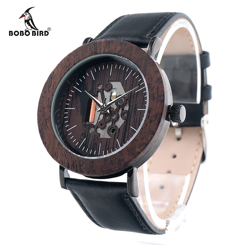 ФОТО BOBO BIRD K18 Brand Design Women Watches Exposed Movement Simple Style Dial Face Black Soft Leather Band montre relojio feminino