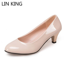 Купить с кэшбэком LIN KING Mature Patent Leather Women Pumps Slip On Shallow High Heel Shoes Leisure Ladies Office Dress Mom Pumps Plus Size 42