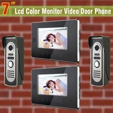 2 Camera + 2 Monitor 7 inch Color LCD video door phone intercom video intercom wired home intercom system doorbell intercom