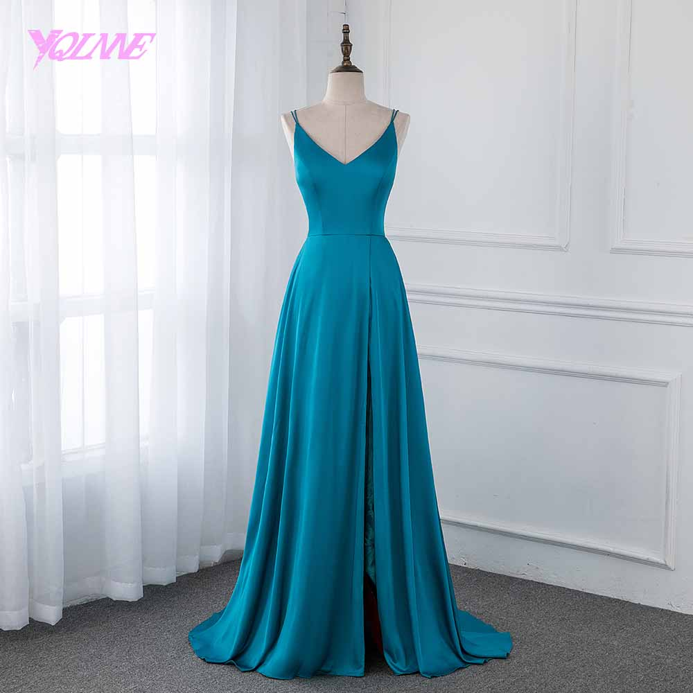YQLNNE 2019 Emerald Silk Satin Long   Prom     Dresses   Backless Formal Women Evening Gown Left Split