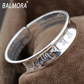 100% Real 999 Silver Jewelry Buddhist Scriptures Retro Bangles for Women Men Lovers Anniversary Gift Bijoux Free Shipping ZJ0008