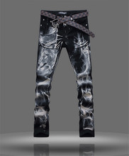 men jeans 2015 printed denim joggers slim men's cotton jeans high quality full length trousers pattern animal wolf Size 28-38