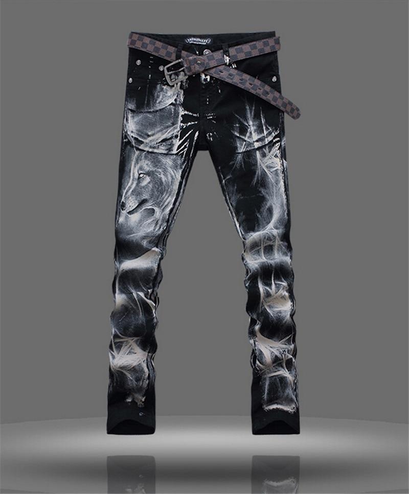 men jeans 2015 printed denim joggers slim men s cotton jeans high quality full length trousers
