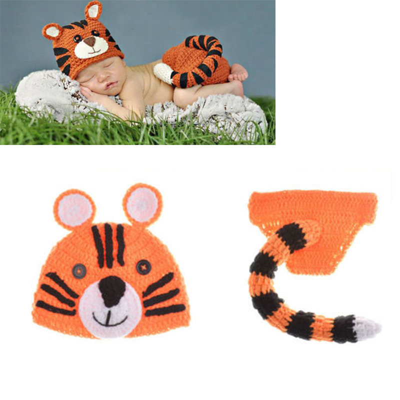 Cute Photography Props Outfits Animal Tiger Hats+Shorts Costumes Set Infant Crochet Knit Photo Props for Newborn Baby Z36 newborn baby photography props infant knit crochet costume peacock photo prop costume headband hat clothes set baby shower gift