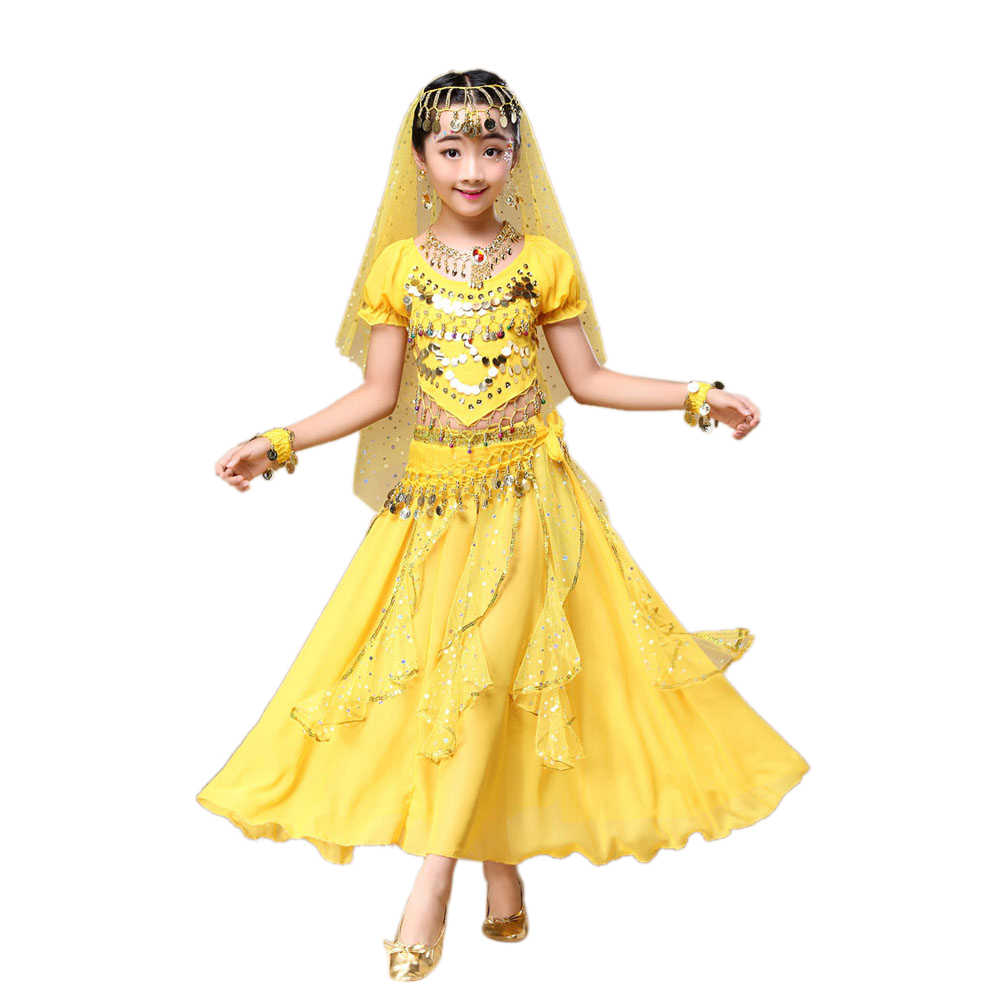 Kids Girls Belly Dance Outfit Costume India Dance Clothes Top+Skirt Print Party Dress Vestidos Children kid Girls Clothing dress