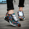 LIN KING Hot Sale Men Women Casual Shoes Thick Sole Graffiti Lace Up Ankle Shoes Low Top Round Toe Massage Mixed Color Shoes