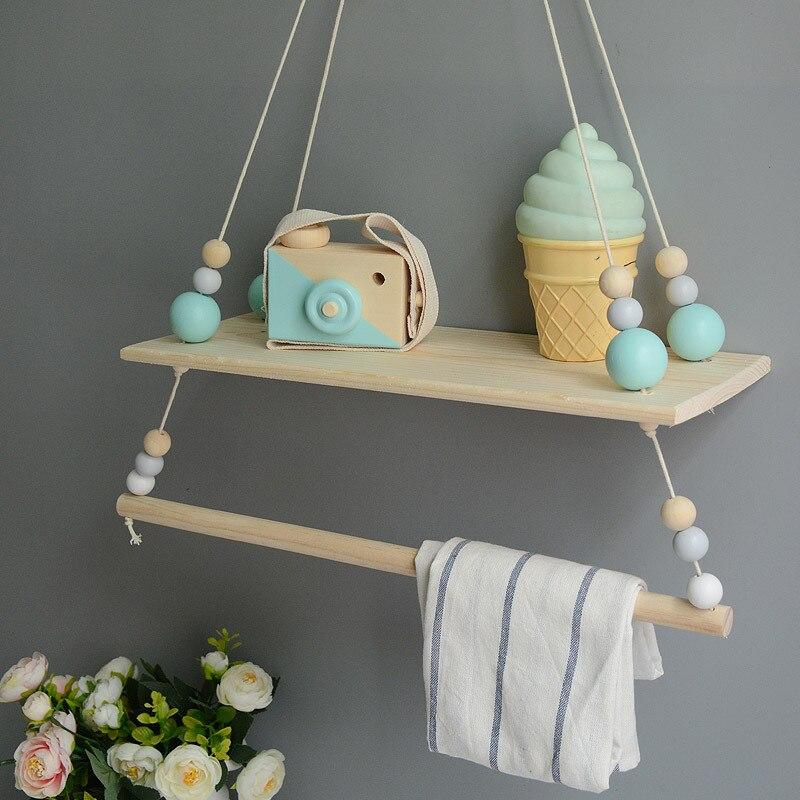 Us 1739 40 Offneue Candinavian Ausgesetzt Regal Baby Zimmer Kinder Kammer Regal Schaukel Holz Perlen Kinder Hängende Kleidung Rack Bücherregal
