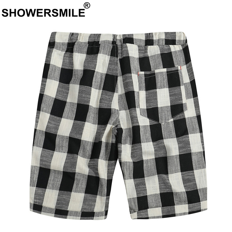3fc14bd42c SHOWERSMILE Plaid Board Shorts Men 5Xl Black And White Checkered Cotton Bermuda  Shorts Male Loose Summer Drawstring Short Pants