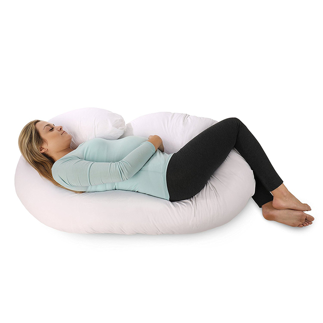 Enipate Full Body J Shaped Pregnancy Pillow for Pregnant Women Body Pillow with Zippered Cover Cotton Polyester Pillow Cover