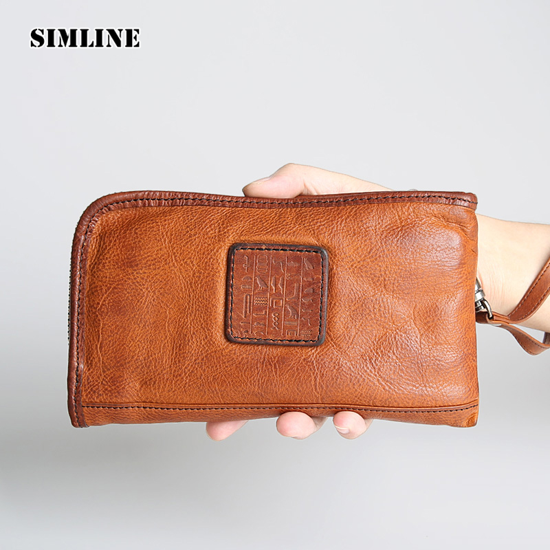 Luxury Brand Vintage Genuine Cow Leather Men's Long Zipper Wallet Wallets Purse Card Holder Coin Pocket Clutch Bag Bags For Men genuine leather men wallets short coin purse vintage double zipper cowhide leather wallet luxury brand card holder small purse