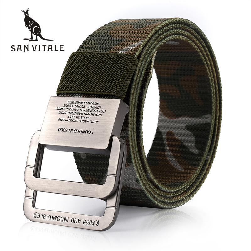 SAN VITALE Men   Belt   Military Equipment Outdoor Tactical   Belt   Man Double Ring Buckle Thicken Canvas   Belts   for Men Waistband Strap