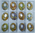 Baroque Style Gold Dust Fashion Yellow and Blue Oval Shaped Lampwork murano glass Beads pendants necklace Jewelry