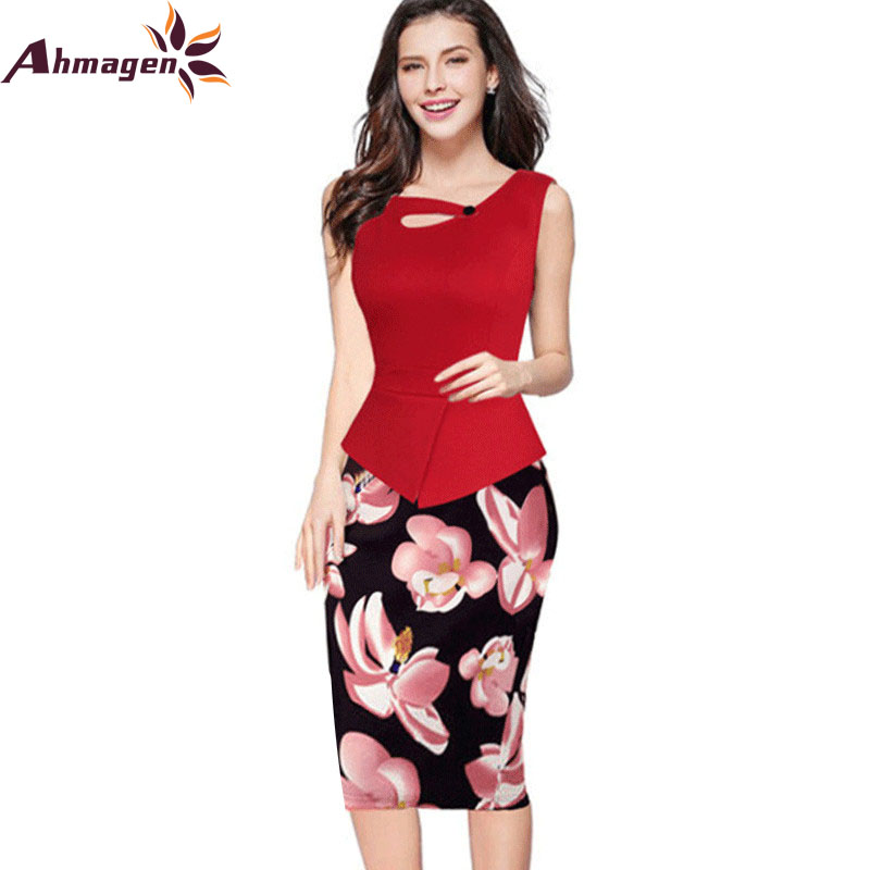 Ahmagen Floral Printed Tunic Fake Two Piece Women Formal Work Office
