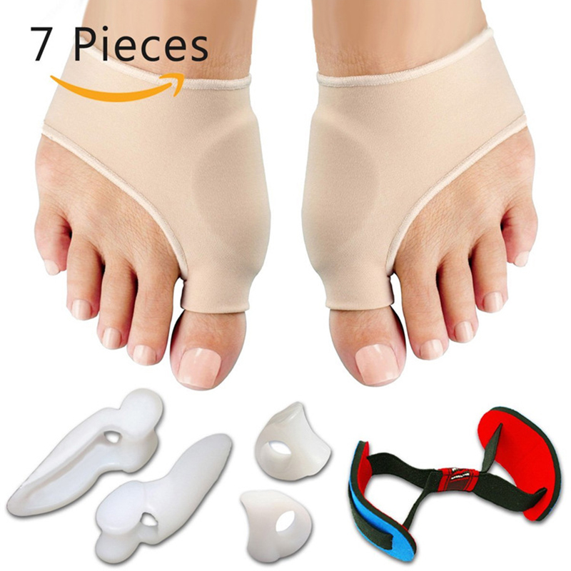 7Pcs/Set Bunion Corrector Gel Pad Stretch Nylon Hallux Valgus Protector Guard Toe Separator Orthopedic Supplies Foot Care Tool 3