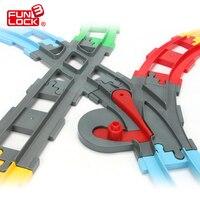 12pcs Lot Funlock Duplo Train Straight Tracks Kids Toys Railway Station Assembling Parts