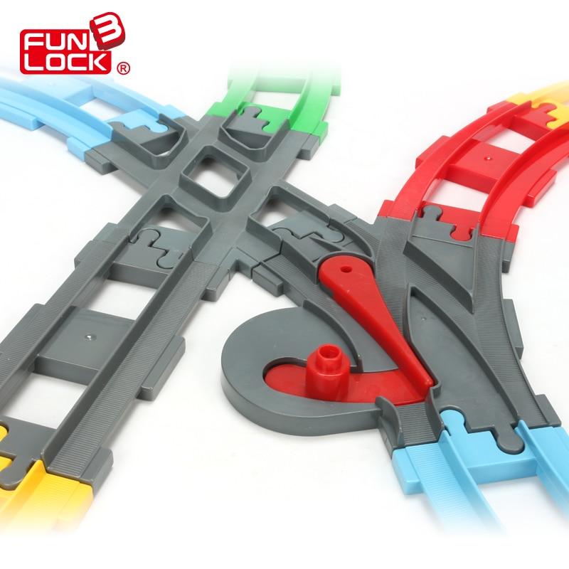 Funlock Duplo 13pcs Igrače Bloki Vlakovni tir v ravni krivulji in Crossover Railway Switch Sestavljanje delov Izobraževalne igrače