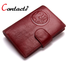CONTACT'S Unisex Women Wallet Female Purses Genuine Leather Men Wallet Passport Cover Passport Holder Passport Case Card Holder