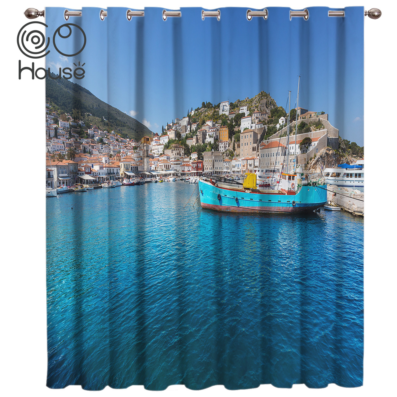 Ships Docked At The Seaside Curtains Blackout Kitchen Bedroom Fabric Indoor Decor Curtain Panels With Grommets