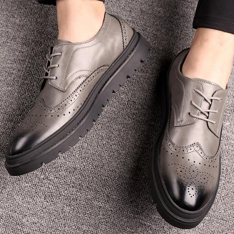 Luxury Brand Fashion Men Dress Shoes Men Leather Brogue Mens Flats Shoes Casual British Style oxfords Business Shoes LE-33 qffaz new 2018 luxury leather brogue mens flats shoes casual british style men oxfords fashion brand dress shoes for men lace up