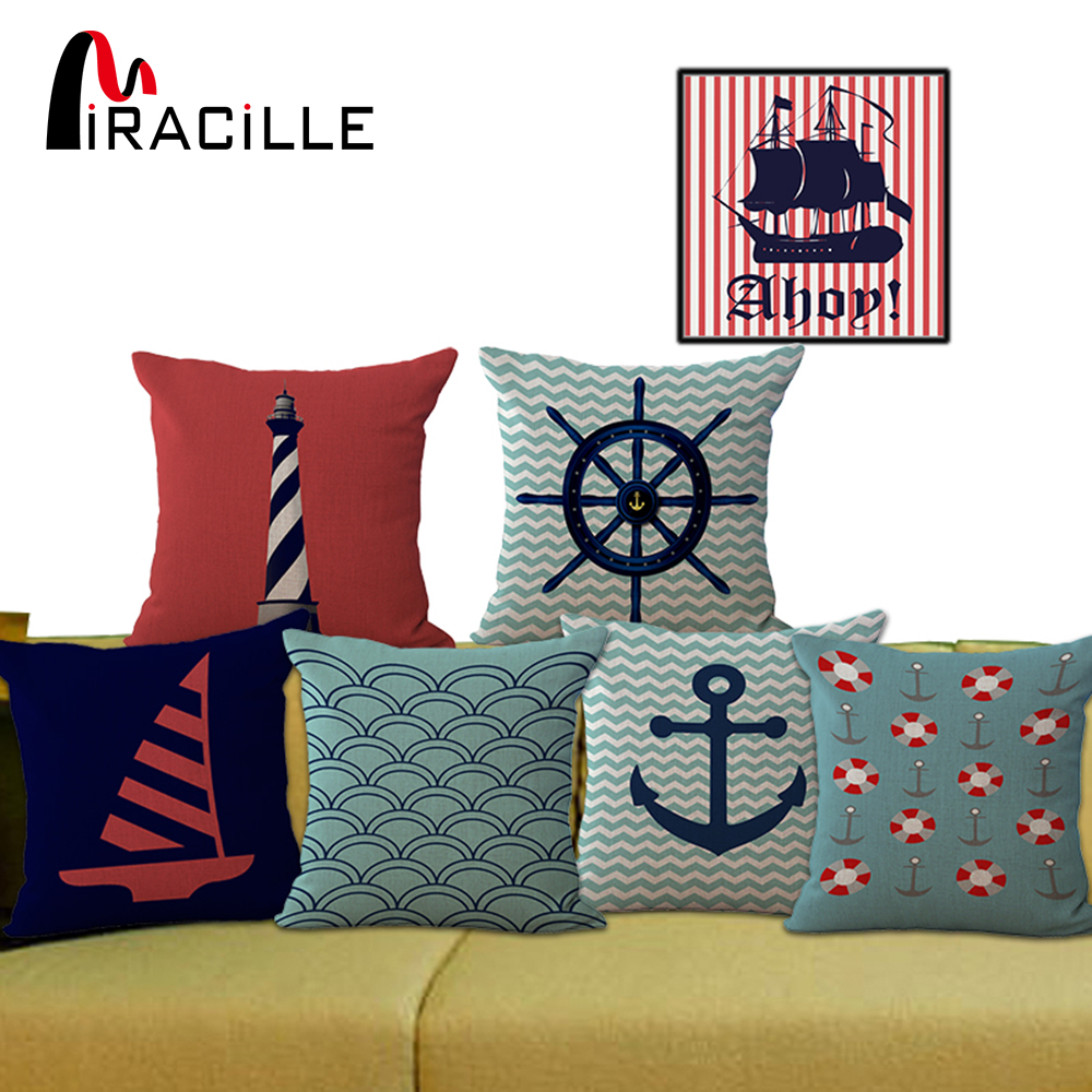 Miracille Middelhavet Navy Blue Sea Anchor Ship Hjelm Dekorative Throw Sofa Pude Kompas Linen Cotton Pude Ingen Påfyldning