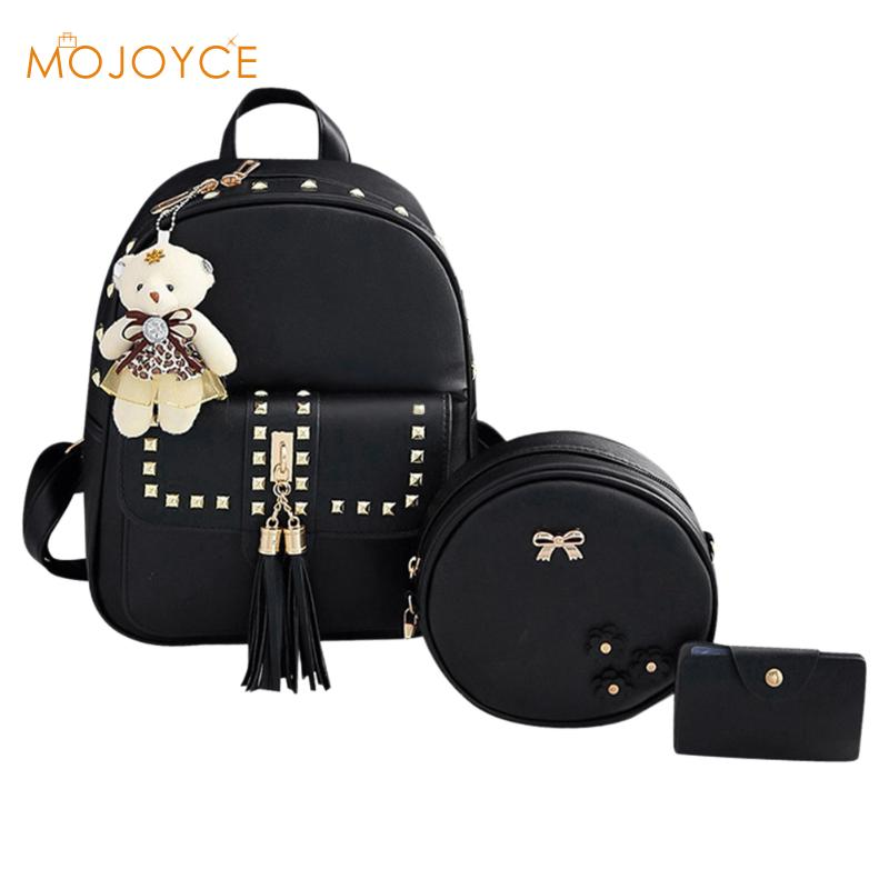 Women Tassel Backpack 3pcs/Set PU Leather Backpack for Girl sac a dos femme mochilas mujer Female School Shoulder Bag New Design british style printing vintage backpack female cartoon school bag for teenagers high quality pu leather backpack sac a dos femme