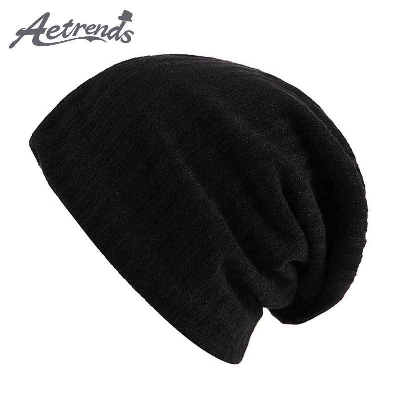 [AETRENDS] 2017 New Brand Winter Hat For Men Skullies Beanies Fashion Warm Bonnet Cap Unisex Elastic Knitting Beanie Hats Z-0393 unisex letter dragon winter hats skullies beanies men woman beanie knitting hat knitted cap new design invierno bonnets gorros