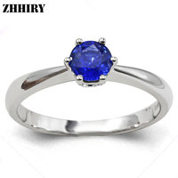 ZHHIRY Women Genuine 18K White Gold Natural Blue Sapphire Ring Gemstone Wedding Rings With Certificate Lettering