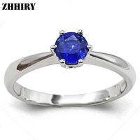 ZHHIRY Vrouwen Echt 18 K Wit Goud Natuurlijke Blauwe Saffier Ring Edelsteen Trouwringen Met Certificaat Belettering Fijne Sieraden