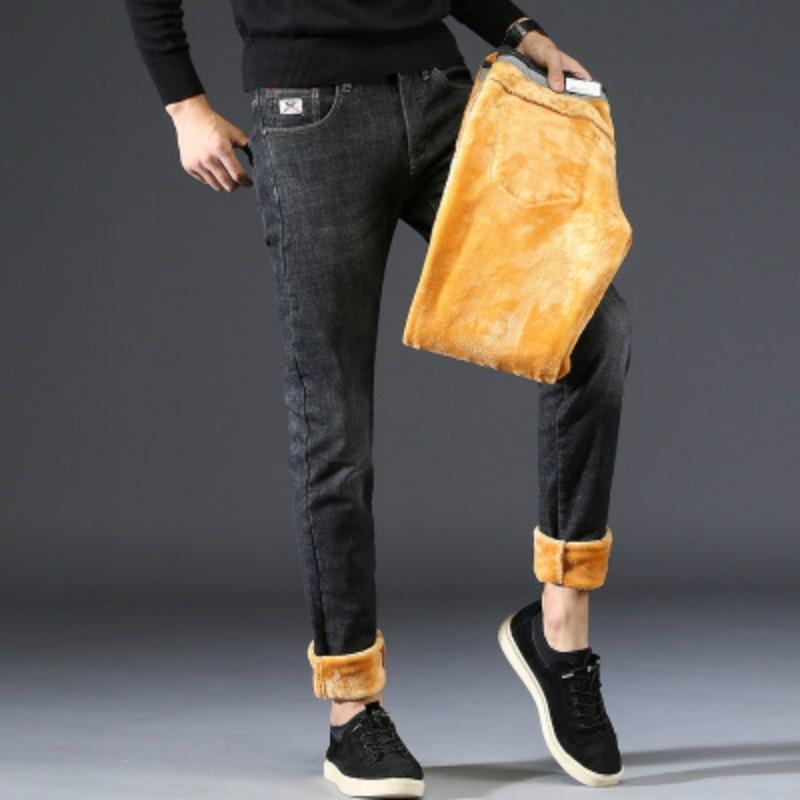 Jeans Men Pants Thicken Cotton Velvet Vintage 2018 New Arrival Autumn and Winter Korean Style Mens Trousers Black