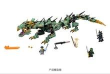Игрушка китайский бренд автоблокировкой кирпичи Совместимость с Lego Movie зеленый ниндзя мех Дракон 70612